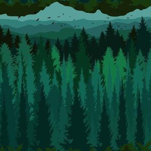 PNW Mountain Landscape in Emerald Green