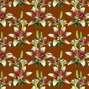 Dragon Lily on brown 8x8