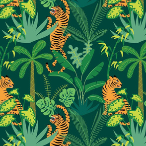 Tigers and tropical plants