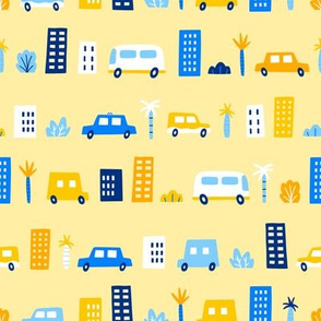 Cars in the yellow city