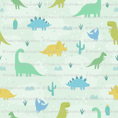 Cute dinosaurs on green