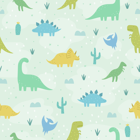 Cute dinosaurs on green fabric by kondratya on Spoonflower - custom fabric