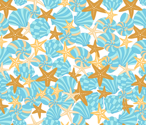 Starfish and Shells fabric by blueirisdesigns on Spoonflower - custom fabric
