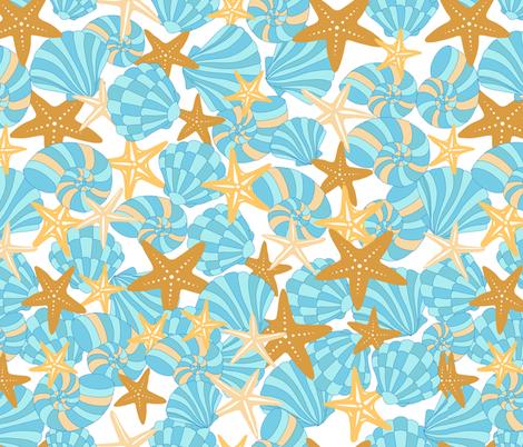 Starfish and Shells fabric by blueirisdesigns on Spoonflower - custom fabric