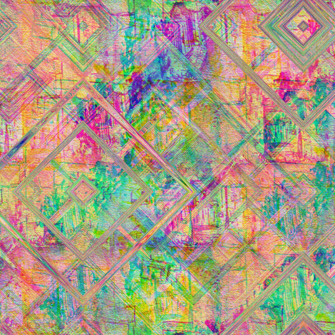 happy very busy ghostly fantomatic village city buildings lozenges 4 rainbow geometric fabric by paysmage on Spoonflower - custom fabric
