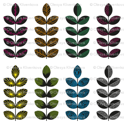 black geometric herbs with colorful doodle textures 2