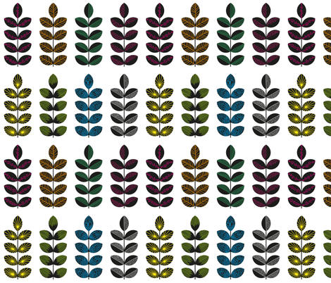 black geometric herbs with colorful doodle textures 2 fabric by klivenkova on Spoonflower - custom fabric