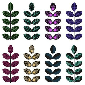 black geometric herbs with colorful doodle textures 1