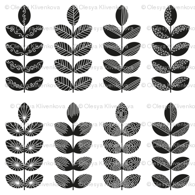 black geometric herbs with white doodle textures 2