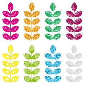 colorful geometric herbs with white doodle textures 2