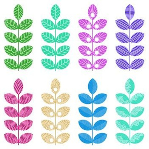 colorful geometric herbs with white doodle textures 1