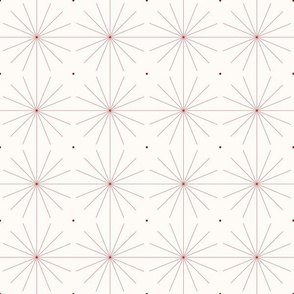 Nineteen Sixty Starburst: Candy Apple Red and Cream, Red Geometric