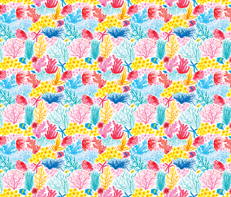 Coral Under The Sea Fish fabric by patricehorvath on Spoonflower - custom fabric