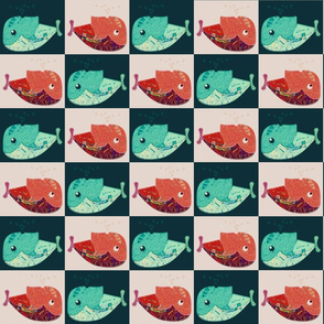 RED AND GREEN  WHALE