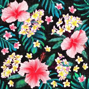 Hibiscus & Plumeria Linen (black)