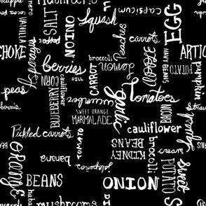 Typographic Grid of Whole Ingredients black