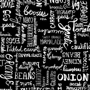 Food names Brushstroke Lettering black