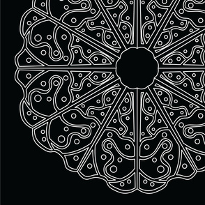 Mandala - Lacey Pizza in White on Black - Large Scale
