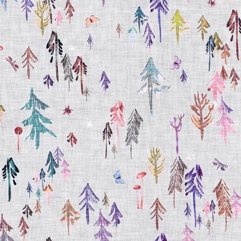 Pine Forest  (violet) MED fabric by nouveau_bohemian on Spoonflower - custom fabric