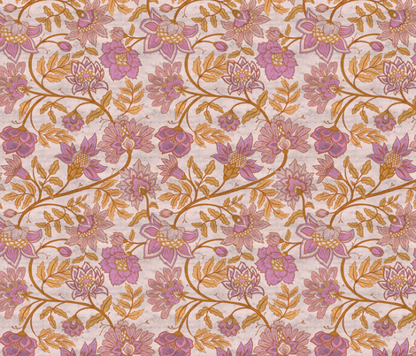 Indienne - Pink and Ochre Distressed fabric by colourcult on Spoonflower - custom fabric