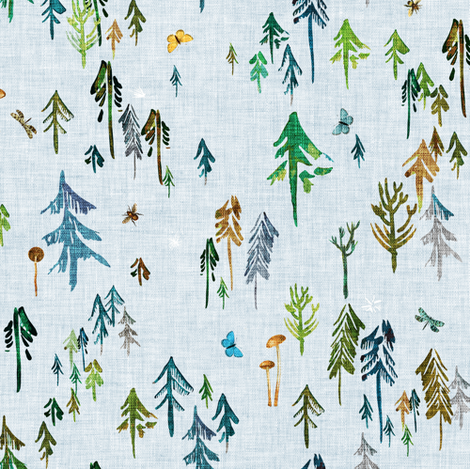 Pine Forest (emerald) MED fabric by nouveau_bohemian on Spoonflower - custom fabric
