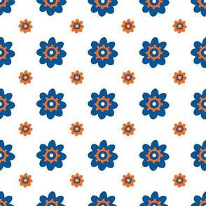 Florida Gators White W/Blue Orange Multi R Flowers