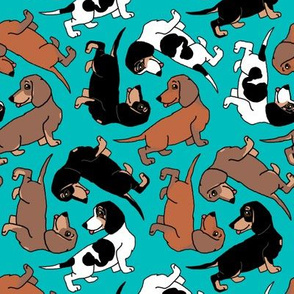1950s Style Assorted Dachshund Puppies on Blue-Green