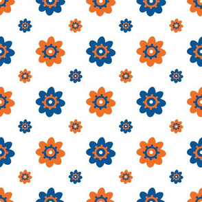 Florida Gators White w/Blue Orange Multi Flowers