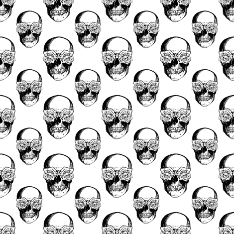 Skulls and Roses | Black and White fabric by eclectic_at_heart on Spoonflower - custom fabric