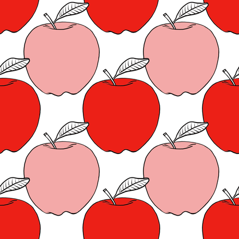 Pink and Red Apples fabric by tarareed on Spoonflower - custom fabric