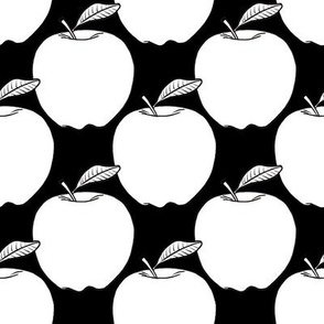 Apples - white on black