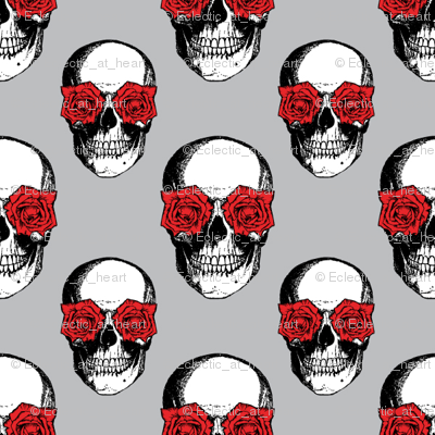 Skulls and Roses | Grey and Red