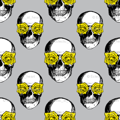 Skulls and Roses | Grey and Yellow