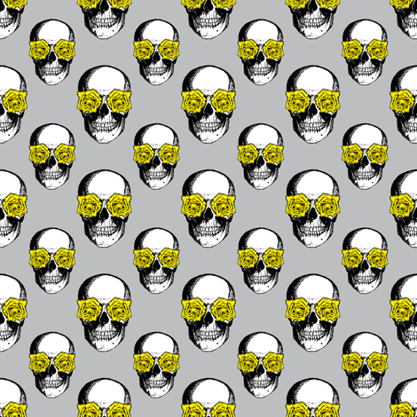 Skulls and Roses | Grey and Yellow fabric by eclectic_at_heart on Spoonflower - custom fabric