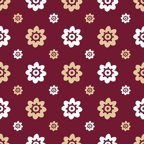 Florida State Red with Gold white Flowers