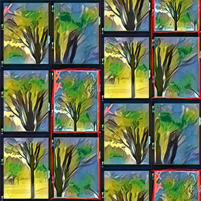 Emerald Forest Watercolor tree blk outlined tile