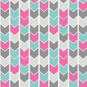 Chevron Arrows - Pink, Turquoise, Grey