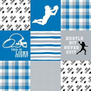 Football//Hustle Hit Never Quit//Lions - Wholecloth Cheater Quilt