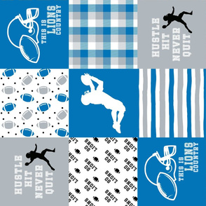 Football//Hustle Hit Never Quilt//Lions - Wholecloth Cheater Quilt - Rotated