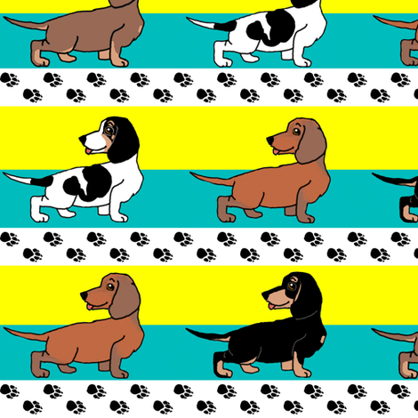 1950s Style Assorted Dachshund Puppies on Blue and Yellow Stripe fabric by eclectic_house on Spoonflower - custom fabric