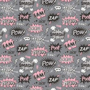 Superhero Comic Pop art Speech Bubbles Words Pink on Grey Smaller