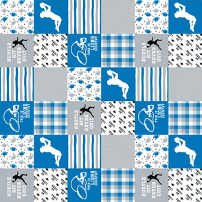 3 inch Football//Hustle Hit Never Quit//Lions - Wholecloth Cheater Quilt - Rotated