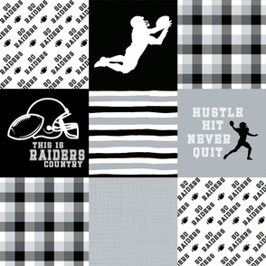 Football//Hustle Hit Never Quit//Raiders - Wholecloth Cheater Quilt