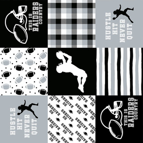 Football//Hustle Hit Never Quit//Raiders - Wholecloth Cheater Quilt - Rotated