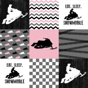 Eat Sleep Snowmobile//Pink - Wholecloth Cheater Quilt
