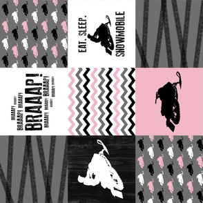 Eat Sleep Snowmobile//Pink - Wholecloth Cheater Quilt - Rotated