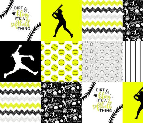 Softball - Dirt & Bling - Wholecloth Cheater Quilt fabric by longdogcustomdesigns on Spoonflower - custom fabric