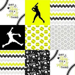 Softball - Dirt & Bling - Wholecloth Cheater Quilt