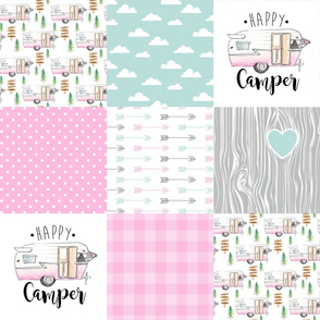 Happy Camper//Pink - Wholecloth Cheater Quilt