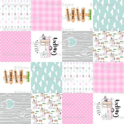 Happy Camper//Pink - Wholecloth Cheater Quilt - Rotated